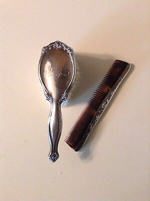 Antique Sterling Silver Ornate Babys Comb And Brush Monogrammed Marion
