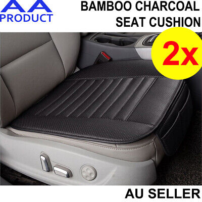 2x Car Seat Cover Cushion Bamboo Charcoal Breathble Pad Chair Mat PU Leather Blk