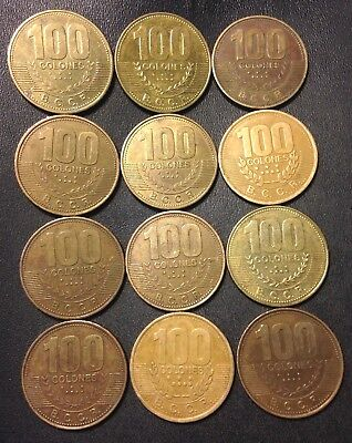 Old Costa Rica Coin Lot - 100 Colones Coins - 12 Large Brass Coins - FREE SHIP