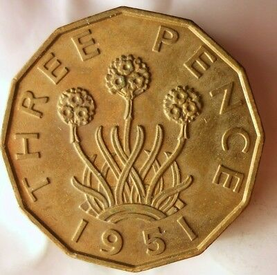 1951 GREAT BRITAIN 3 PENCE - AU High Grade Key Coin - FREE SHIP WORLDWIDE - HV15