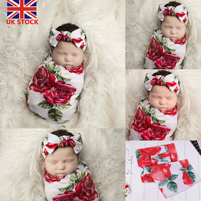 UK Infant Baby Floral Blanket Swaddle Wrapping Newborn Sleeping Bag+Headband Set