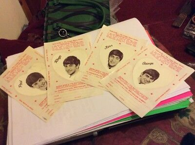 ORIGINAL EARLY 1960's V.RARE BEATLES STICKERS-ALL 4 SEPERATE-UNUSED V.RARE