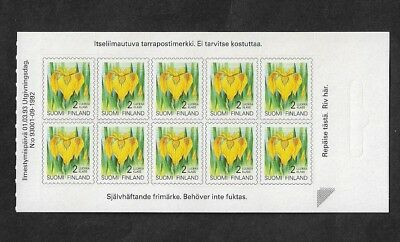 FINLAND 1992 Flowers, mint P&S booklet half, MNH MUH