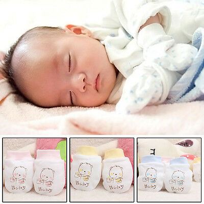 Baby Infant Anti-scratch Cotton Mittens Gloves Handguard 0-6 Months Kid born.UK