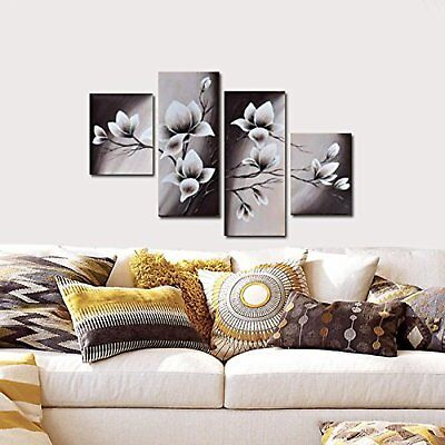 Blooming Flowers Oil Painting, Hand Painted Framed Canvas Wall Art, 4 Panels Set
