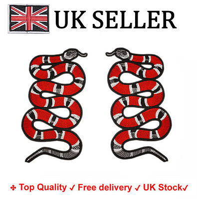 Iron / Sew On Coral snake Embroidered Patch Applique Embroidery Motif transfer