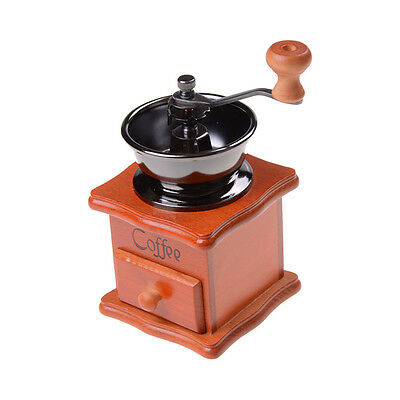 "Retro Classic""Manual Coffe Machine Grinder Coffee Mill Vintage Wooden Hand CranR"
