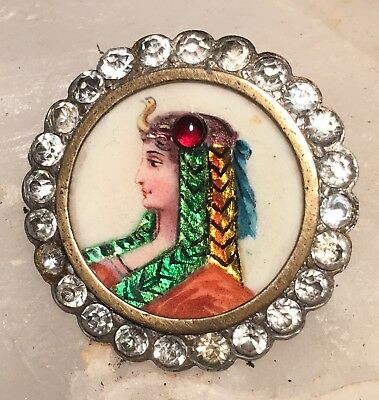antique button  rare Enamel Limoges of Cleopatra in rhinestone border. Gorgeous!