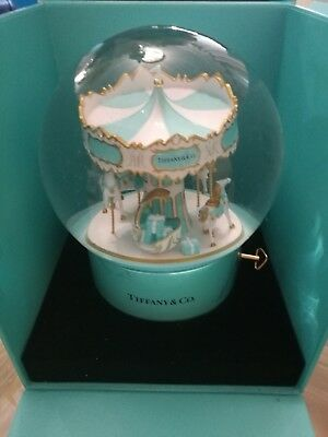 Tiffany & Co.  Big Snow Dome Globe Musical Glitter Carrusel! Ultra Rare