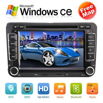 "AUTORADIO Für VW 2Din 7"" GPS Navi Bluetooth DVD/CD USB Player Navigation neu"