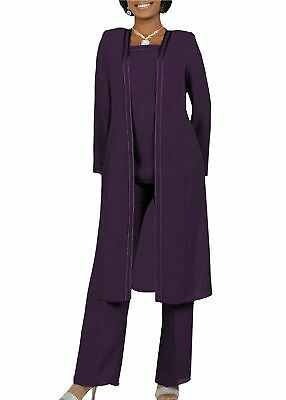 Free Shipping 3PCS Size 14 Purple Mother of the Bride Pant Suit Long Sleeves