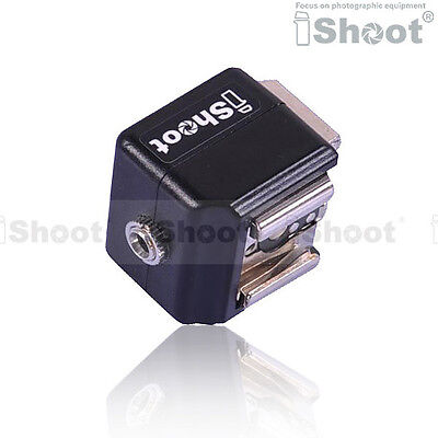 iShoot Double-Hot Shoe Mount Adapter Flash Trigger with 3.5mm PC SYNC Port