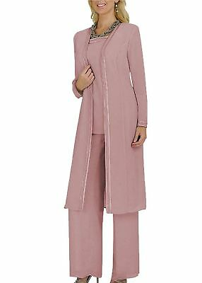 Free Shipping 3 PCS Size 12 Pink Nude Mother of the Bride Pant Suit Long Sleeves