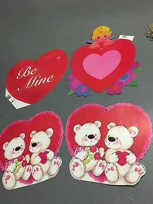 Retro Vintage Valentine's Day Decorations Paper Die Cut Eureka Lot Bear Cupid