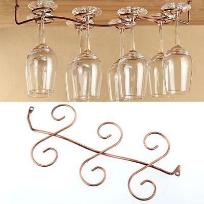 6Wine Glass Rack Stemware Under Cabinet Holder Hanger Shelf Bar Kitchen Display*