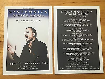GEORGE MICHAEL - 2 x 2011 SYMPHONICA DOUBLE SIDED UK TOUR FLYERS (SIZE A5)