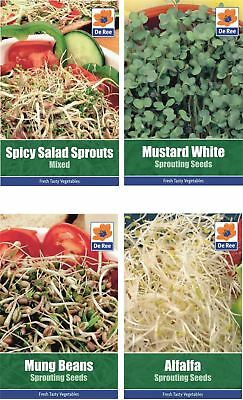 4 PACKETS of SPROUTING SEEDS - Alfalfa, Mung Beans, Mustard White, Spicy Salad