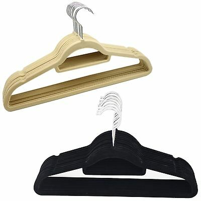 Set Of 10 Thin Velvet Touch Space Saving Non-slip Coat Hangers Shirt Trousers