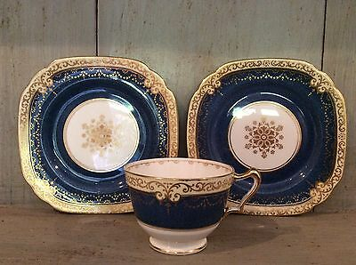 Vintage Crown Staffordshire Two Side Plates And One Cup  ~Cobalt Blue & Gilt