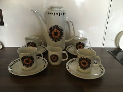 J & G Meakin Studio Jessie Tait Design 1970`s Retro Coffee Set - Inca Pattern