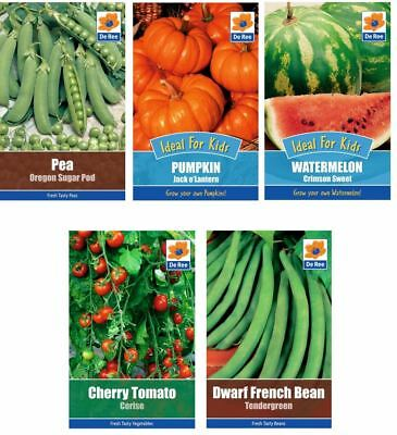5 PACKETS of VEGETABLE SEEDS - Bean, Pea, Tomato, Pumpkin, Watermelon