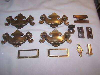 Lot of 4 Vintage Keeler Brass  Drawer Pulls Handles KBC N-6970 + misc hardware