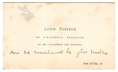 Autograph Note Handwritten by Louis Pasteur on Business Card - French Biologist