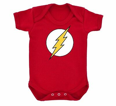 Red 'The Flash' super hero logo costume Baby Grow body Sleep Suit Vest