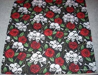 New Unisex 100% Cotton Bandana/Head Wrap/Scarf, Skulls & Roses