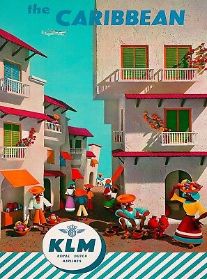The Caribbean Island KLM Airlines Airline Vintage Travel Poster Advertisement