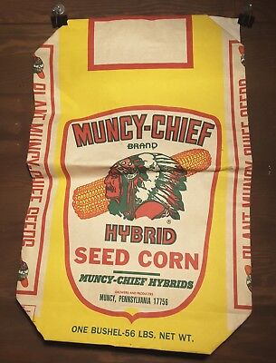Vintage Muncy- Chief Hybrid Seed Corn Paper Bag Pennsylvania Farm Sack Indian