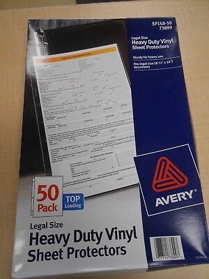 Avery 73899 Top Load Vinyl Sheet Protectors Legal Size Heavy Duty Clear Box 50