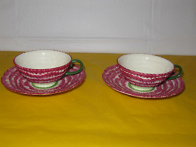 2 Vintage Laura Ashley Carnation Floral Pink Handpaint Tea Cups&Saucers, in VGC