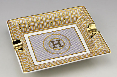 Hermes Limited Edition Gold Mosaic Ceramic Rectangle 2 Cigar Cigarette Ashtray
