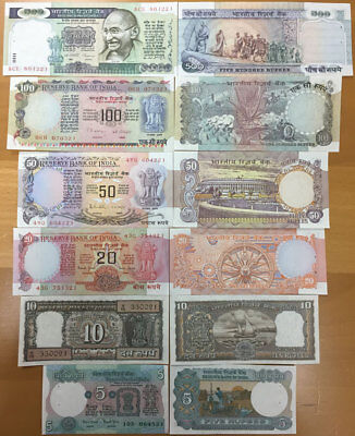 India Banknote Set 5-10-20-50-100-500 Repees 1970's, Unc