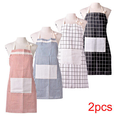 2pcs Plain Apron with Pocket for Chefs Butcher Kitchen Cooking Catering Baking