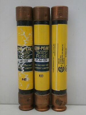 Lot of (3) Bussmann Fusetron LPS-RK-12SP Low-Peak Time-Delay Fuse 12A 600V