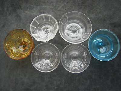 Lot of 6 Early American Glass Bryce Higbee, Richards etc. Sherbets ca.1800's