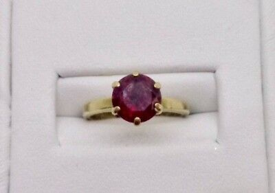 10K Yellow Gold Vintage Round Solitaire Red Ruby Glass Ring Size 5 Antique