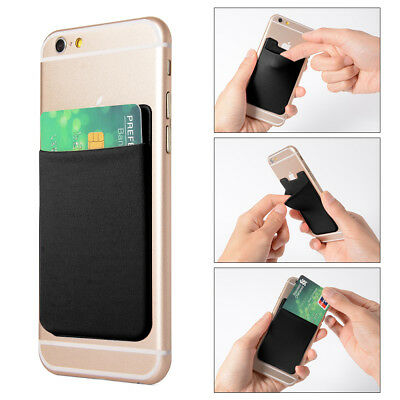 2x Lycra Phone Stick On Wallet Credit Card Holder Adhesive Black fr iPhone AC418