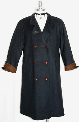 WOOL + CASHMERE Long OVER COAT German SHORT SLEEVES*NICE INSIDE LINING Winter L