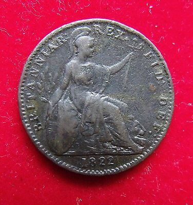 1822 George IV Copper Farthing Britiish Coin. in fine condition