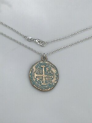 Coin Cross Charm Necklace, Gold Relic, Patina Gold Plated, 16 k Gold Chain