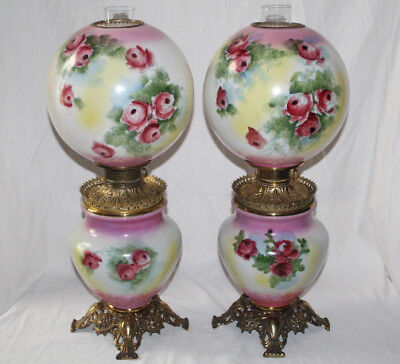 RARE PAIR of HAND PAINTED Antique Gone with the Wind Oil Parlor Lamps