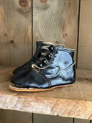 Antique Victorian Black  Leather Baby Doll Shoes Children's High Boots Button Up