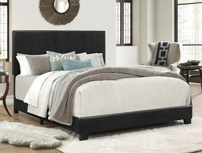 CALIFORNIA KING BED Frame w/ Headboard Espresso Faux Leather ...
