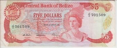 BELIZE BANKNOTE P47a-1509 5 DOLLARS 1.1.1987 SCARCE DATE, QE II, VF