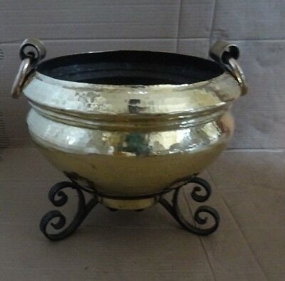 Antique Victorian Heavy Hammered Brass Planter Pot Holder With Side Ring Handles