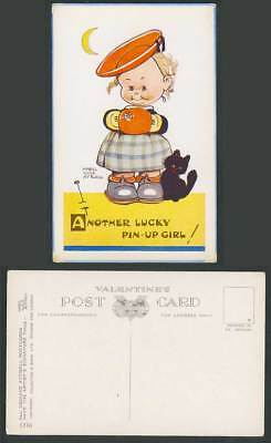 MABEL LUCIE ATTWELL Old Postcard Another Lucky Pin-Up Girl Black Cat Kitten 1316