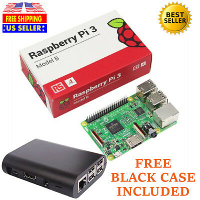 Raspberry Pi 3 Model B 1GB 64bit Quad Core 136-5473 Board with FREE Black CASE